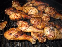Chicken drumbsticks on grill